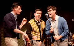 Jeremy Holmes, Scott Carmichael, Zachary Stevenson in the Arts Club Theatre Company's production of Buddy: The Buddy Holly Story. Photo by Tim Matheson.