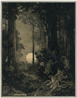 """Moonrise in a Wood,"" Franklin Booth - 1909"