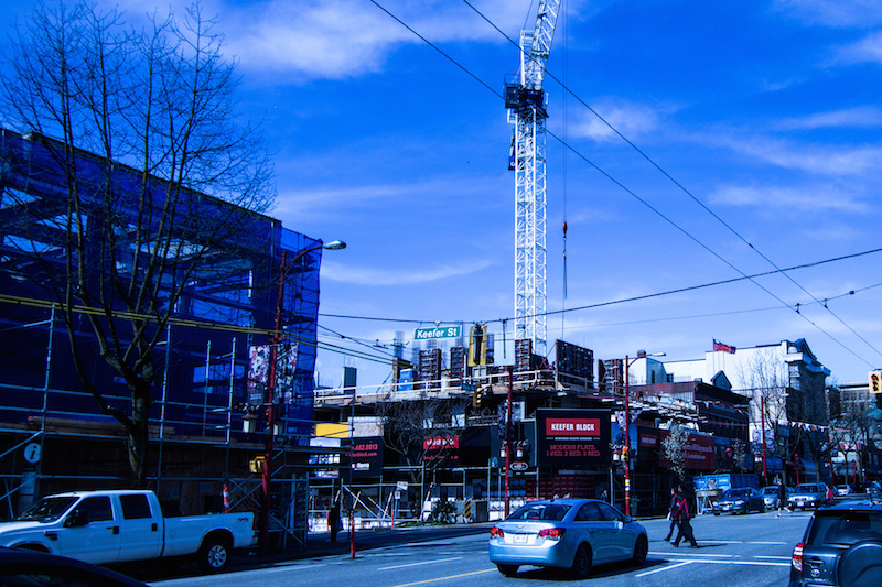 Construction of the Westbank Tower, a high-density housing project on Main St.