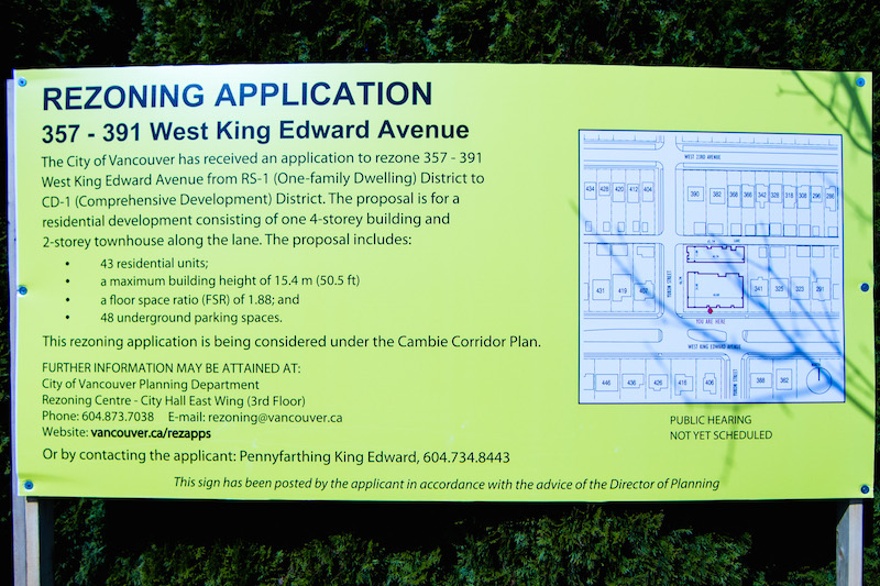 Rezoning Application signs are posted along streets within the Cambie Corridor