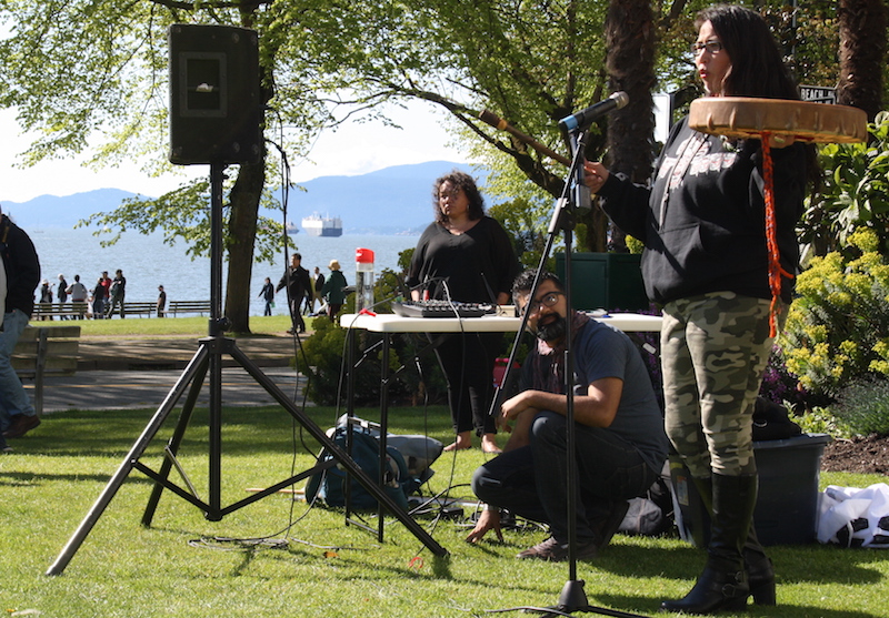 Audrey Siegl voices concerns over English Bay oil spill at protest on April 25 - By. Ricardo Khayatte